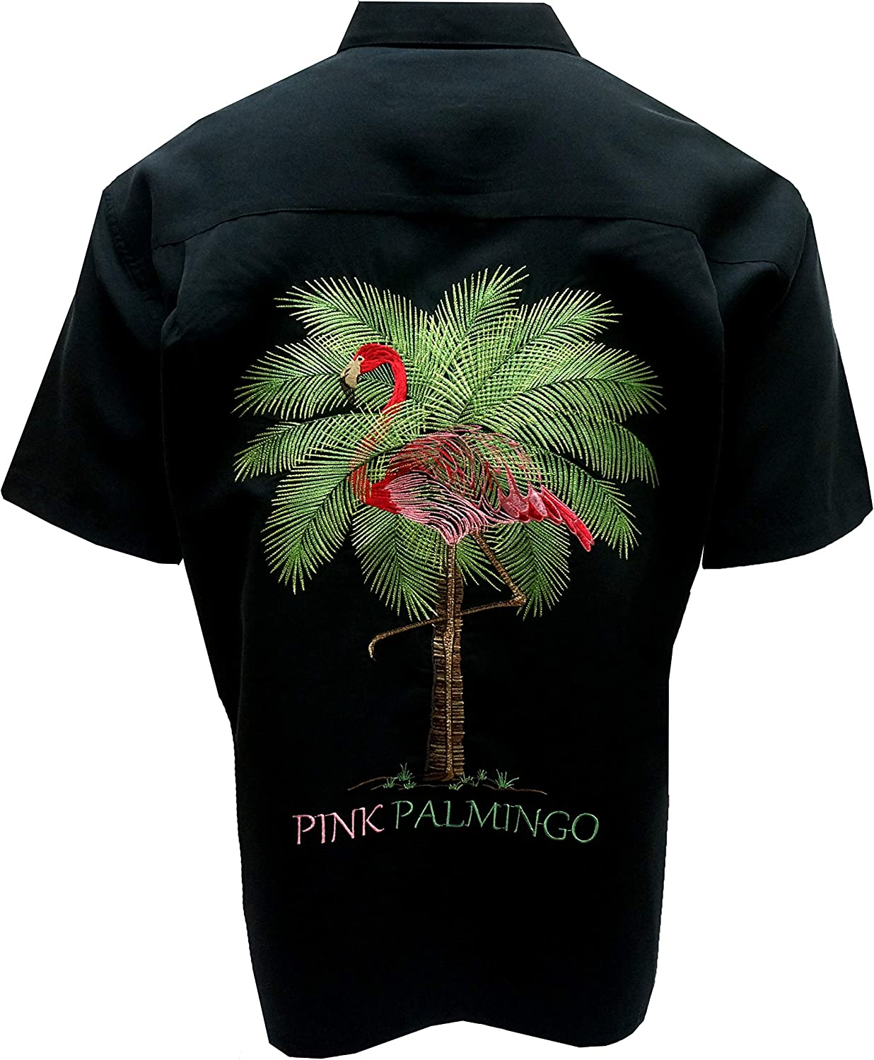 Bamboo Cay Men's Pink Palmingo Camp Embroide Button-Front 時間指定不可 Collar 日本正規代理店品