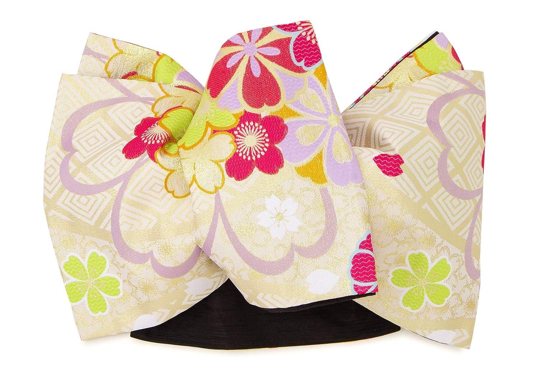 (ソウビエン) 袋帯 小杉織物謹製 薄茶色 ライトベージュ 金色 ピンク 桜 花 菱 全通柄 振袖向け フォーマル向け 日本製 仕立上がり