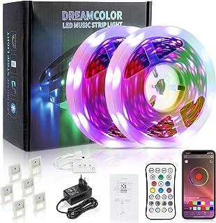 Ruban LED 10m (2x5m), LED chambre GUIRLANED, LED SMD 5050 LUMINAIRES INTERIEUR, LED TV Ambiance, TELECOMMANDE BLUETOOTH av...