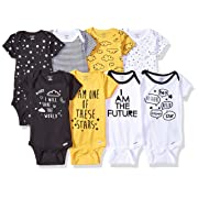 GERBER Baby Boys' 8-Pack Short-Sleeve Onesies Bodysuit, Star, 6-9 Months