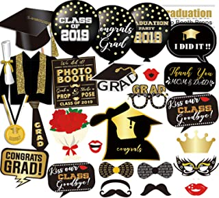 2019 Graduation Photo Booth Props Gift, Glitter Large Graduation Photo Props Class of 2019 Grad Decor with Sticks for Kids Boy Girl, 2019 High School Senior Prom Grad Party Favors Supplies Decorations