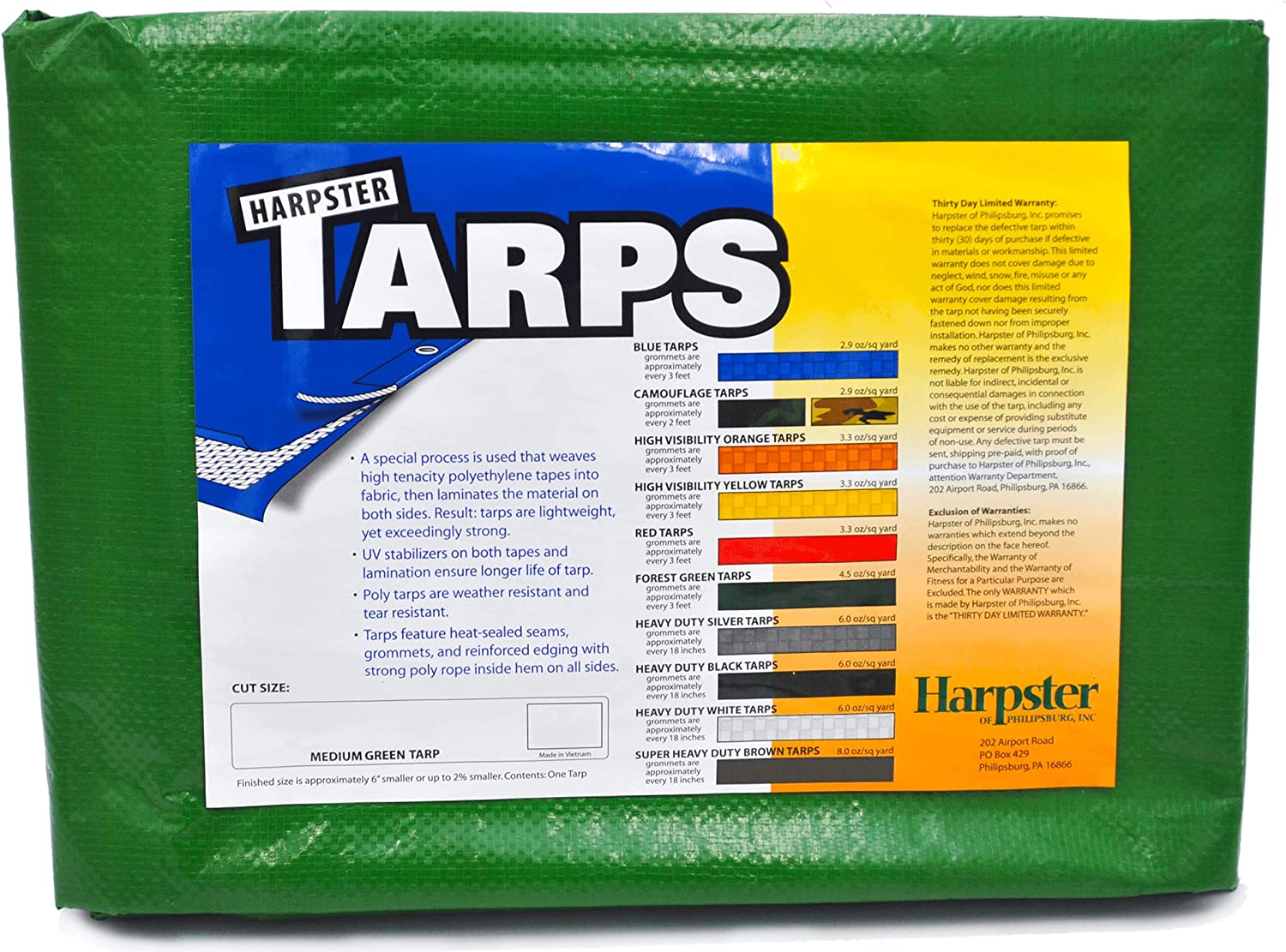 Harpster Tarps 12ft. x 20ft. Green Waterproof Medium All-Purpose Directly managed store Discount mail order