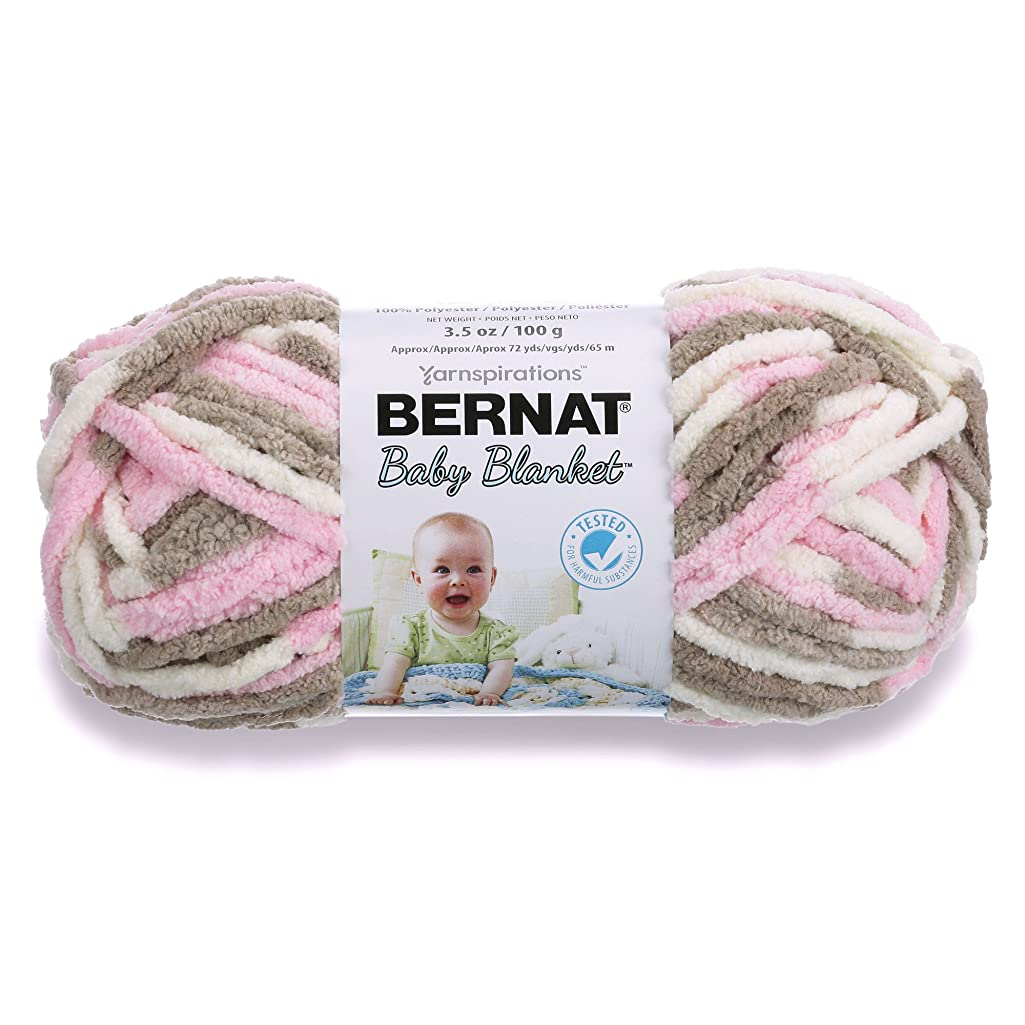 Bernat Baby Blanket Yarn, 3.5 oz, Gauge 6 Super Bulky, Little Petunias