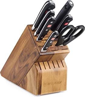 WÜSTHOF Classic Eight Piece Deluxe Acacia Block Set   8-Piece German Knife Set   Precision Forged High Carbon Stainless Steel Kitchen Knife Set with 15 Slot Bamboo Block – Model 8408-6