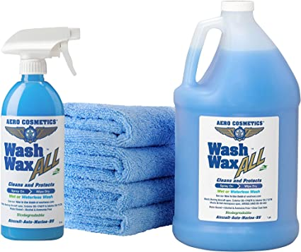 Aero Cosmetics Wet or Waterless Car Wash Wax Kit. Aircraft Quality for Your Car, RV, Boat, Motorcycle. The Best Wash Wax. Anywhere, Anytime, Home, Office, School, Garage, Parking Lots.: image