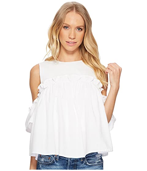 Great Deals Cheap Price 2018 New For Sale J.O.A. Cold Shoulder Top with Ruffled Sleeve White New Styles Cheap Online 100% Original Sale Online Quality From UK Wholesale EbO6L3M