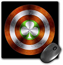 3dRose Perkins Designs Potpourri – Clover of Ireland – an Irish clover featured as part of a metallic shield or crest – MousePad (mp_44020_1)