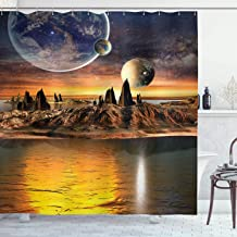 Ambesonne Fantasy Shower Curtain, Alien Planet with Earth Moon and Mountain Fantasy Sci Fi Galactic Future Cosmos Art, Cloth Fabric Bathroom Decor Set with Hooks, 84 Long Extra, Marigold Brown
