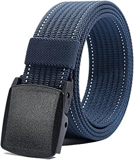 """Nylon Belt for Men, Military Tactical Belt with YKK Plastic Buckle, Durable Breathable Waist Belt for Work Outdoor Cycling Hiking Skiing,Adjustable for Pants Size Below 46inches[53""""Long1.5""""Wide]"""