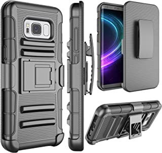 Galaxy S8 Plus Case, Galaxy S8 Plus Holsters Clips, Zectoo [Heavy Duty] Full Body Armor with Belt Clip Kickstand Shockproof Carrying Hybrid Case Cover for Samsung Galaxy S8 Plus SM-G955A - Black