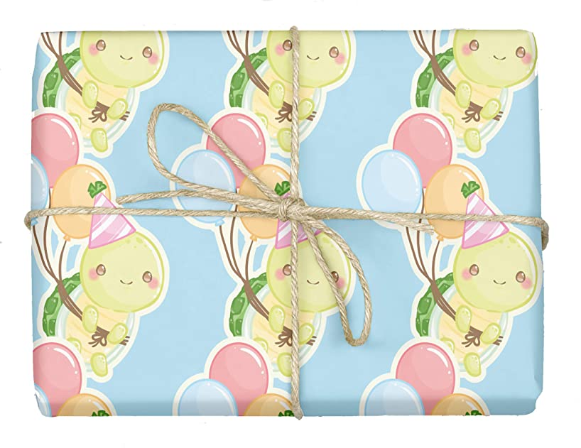 Baby Turtles - Design Gift Wrapping Paper   for Baby Showers, Kids Birthdays, Christmas Gifts   Unique Unisex Print   Wrap A Birthday Parcel & Present   5 Sheets   20 x 28 Inches