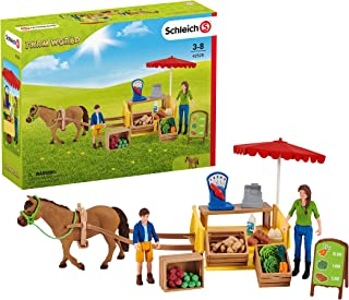 SCHLEICH Farm World, 21-Piece Playset, Farm Toys for Girls and Boys Ages 3-8, Sunny Day Mobile Farm Stand