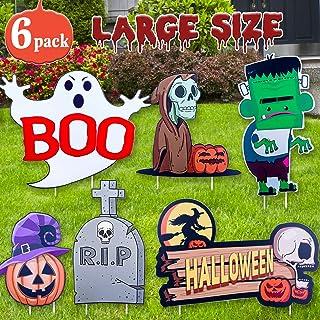 DEMESEX Halloween Decorations Halloween Yard Signs Kid-Friendly Monster/Ghost/Skeleton/Pumpkin Design Large Size Eye-catching Halloween Yard Décor for Lawn, Garden, Yard, Driveway (6pcs)