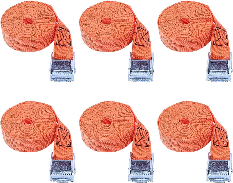 Cinghie Elastiche Di Fissaggio Per Valige Tensionamento Inox Resistenti Cinghie Di Fissaggio Con Cricchetto Auto Cinghie Con Cricchetto Professionali Cinghiette Per Portabici arancia, 1m