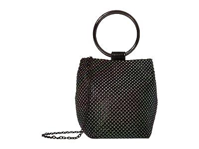 Jessica McClintock Gwen Ball Mesh Ring Wristlet Pouch Clutch (Oil Slick) Clutch Handbags