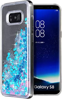 Galaxy S8 case,WORLDMOM Clear Double layer Design Bling Flowing Liquid Floating Sparkle Colorful Glitter Waterfall TPU Pro...