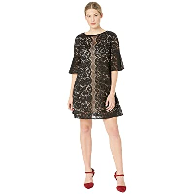 Gabby Skye Scallop Lace Pattern Dress (Black/Cafe) Women