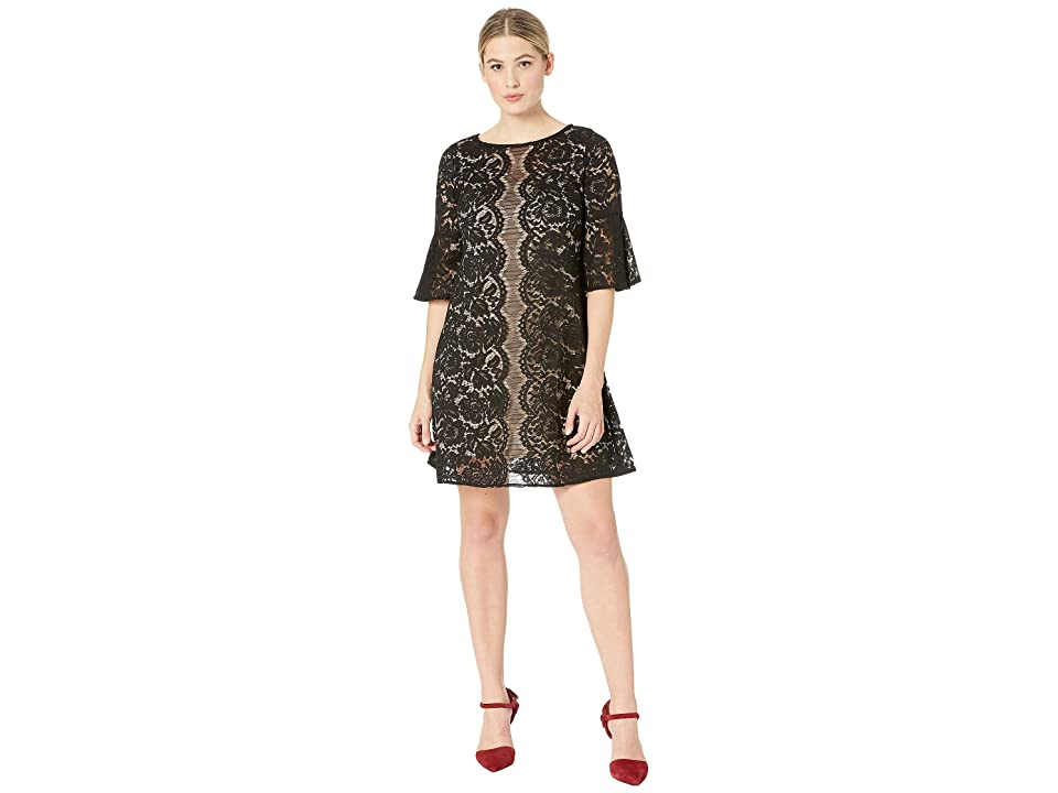 Gabby Skye Scallop Lace Pattern Dress (Black/Cafe) Women