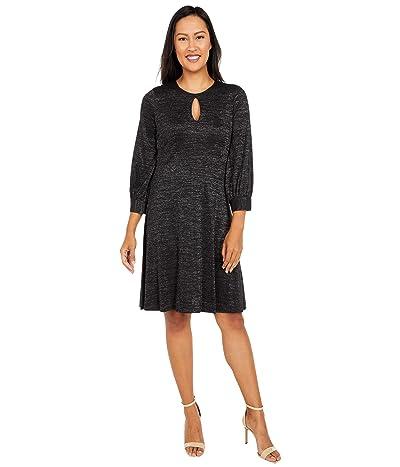 Calvin Klein Glitter Jersey A-Line with Keyhole (Black) Women