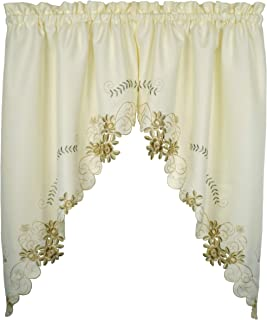 Today's Curtain Verona Reverse Embroidery Window Swag, 38-Inch, Ecru/Antique