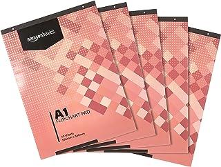 Amazon Basics - Bloc de papel para rotafolio, 40 hojas, tamaño A1, 59,5 x 84 cm, 5 unidades