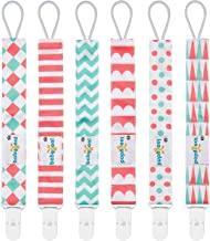 Babygoal Pacifier Clips for Girls, 6 Pack Pacifier Holder Fits Most Pacifier Styles &Teething Toys and Baby Shower Gift 6PS12