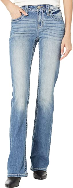 Leather Chloe Bootcut Jeans in Medium Blue