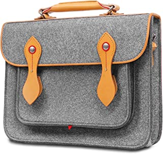 TOPHOME Laptop Bag Briefcase Backpack Handbag Compatible for 14-15 Inch MacBook Pro, Ipad, Tablet PC, Wool Felt Genuine Leather Edge and Handle,Gray