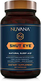 Shut Eye Natural Sleep Aid | Herbal Relaxation Supplement Made with Valerian Root, Melatonin, Chamomile, Ma...