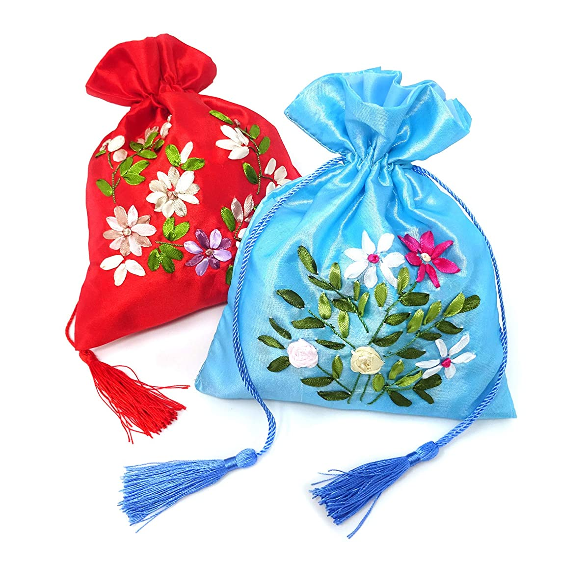 Honbay 2PCS 18x22cm/7.1x8.7inch Drawstring Gift Bags Brocade Silk Jewelry Pouches
