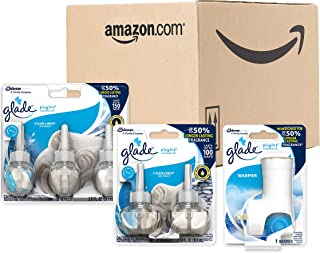 Glade PlugIns Scented Oil Warmer and Clean Linen Starter Kit (Warmer + 5 Refills), Essential Oil Infused Wall Plug in, Up to 50 Days of Continuous Fragrance, 3.35 FL OZ, Pack of 5