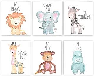 Adoren Studio Nursery Decor Nursery Art Baby Animal Wall Art Safari Theme Nursery Safari Animals Poster Prints Set of 6 Watercolor Animals Elephant Zebra Giraffe Lion Hippo Monkey Prints