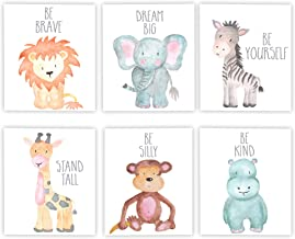 "Adoren Studio Nursery Decor Nursery Art Baby Animal Wall Art Safari Theme Nursery Safari Animals Poster Prints Set of 6 Watercolor Animals Elephant Zebra Giraffe Lion Hippo Monkey Prints 8x10"" Grey"