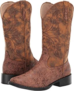 Brown Floral Embossed Faux Leather Vamp