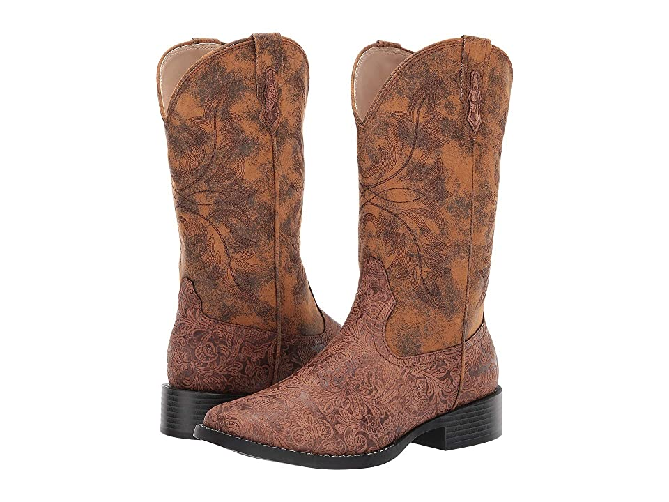Roper Mitsy (Brown Floral Embossed Faux Leather Vamp) Cowboy Boots
