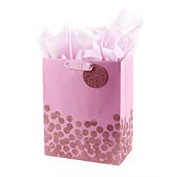 """Hallmark 13"""" Large Gift Bag with Tissue Paper (Pink Glitter Dots) for Baby Showers, Birthdays, Brida"""