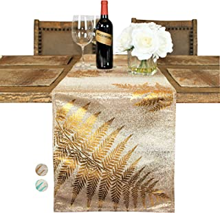 Custom Made Metallic Yarn Gold Green Table Runner – 15 x 108 Inch Gold Table Runner for Dining Table - Modern Foil Leaf Design – Ideal for Holidays, Home Décor, Gold/Gold