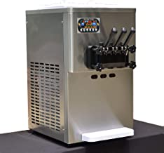 Countertop yougurt 3 Flavors Soft Serve ice Cream Machine,Yogurt Tabletop ice Cream Machine 2x7L Hopper, 2x1.5L Cylinder,Stainless Steel Beater,Supper Silent Gear Box
