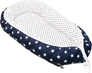 "Soft Cotton Baby Lounger by ULLENBOOM | Large Stars | Newborn Snuggle Nest | 22"" x 37"" - Boys White/Blue"
