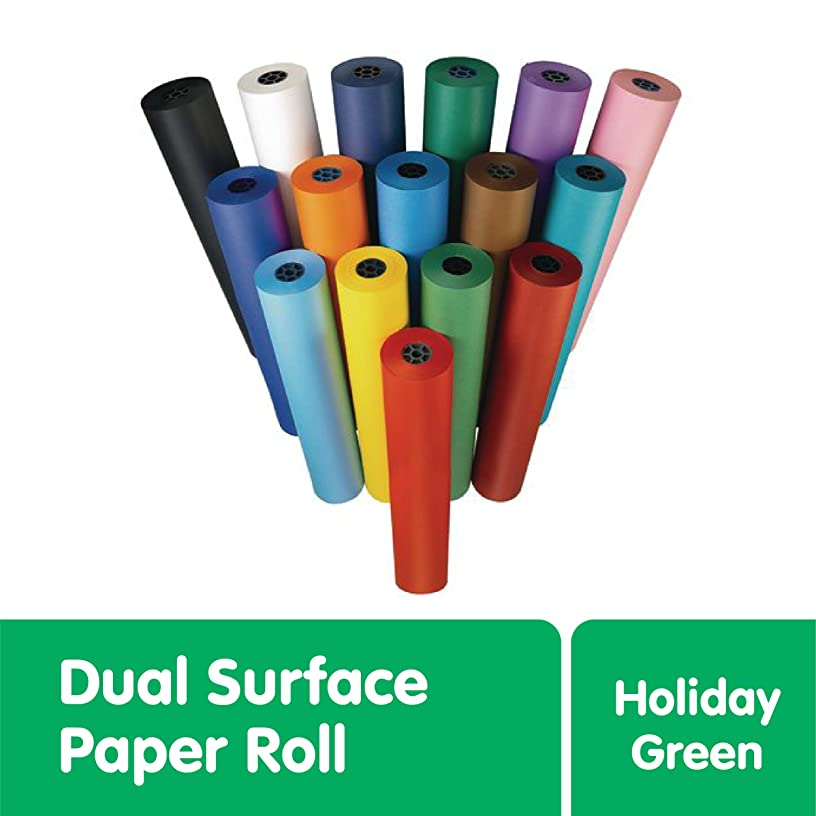 """Colorations Dual Surface Paper Roll, Holiday Green, 36"""" by 1,000' – Smooth Side for Markers, Finger Painting, Drawing – Textured Side for Tempera, Watercolor, Acrylic Paints – Great for Classroom"""