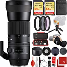 $899 » Sigma 150-600mm f/5-6.3 Contemporary DG OS HSM Nikon F-Mount Bundle with 2X 64GB Memory Cards, IR Remote, 3 Piece Filter Kit, Wrist Strap, Card Reader, Memory Card Case, Tabletop Tripod