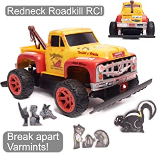 Redneck Roadkill Bo Skeeterz RC Radio Control Toy Tow Truck Game Set Customizable w/Stickers Truck ding Bumper Decals and Comes w/Break-Apart Animal Rodent Targets, Remote Control, Family Fun