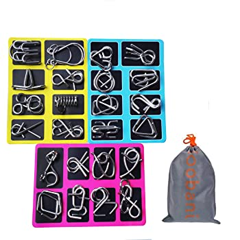 Loobani 知恵の輪 ちえのわ 謎解き 脳ティーザー リングパズル 脳トレ パズル スチールパズル 難易度 レベル 知育 遊び 玩具 おもちゃ ゲーム 楽しい 子供 大人 説明書付き 24点セット