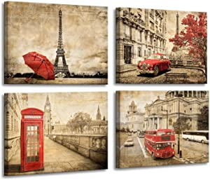 Paris Decor for Bedroom - Vintage Room Decor Red Umbrella Wall Art Bus Telephone Booth Eiffel Tower Decor Paris Theme Room Decor Contemporary Wall Art for Bedroom Office Kitchen Framed 12x16inchx4pcs