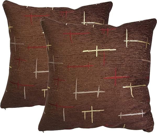QCTIANXIA Pack Of 2 Plaid Throw Pillow Cover Chenille Decorative Pillow Case Home Sofa Chair Cushion Set Square Design Pillow Decorative Brown 18X18