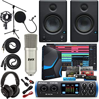 "PreSonus Studio 26c 2x4,192 kHz USB Audio/MIDI Interface with Studio One 5 Artist Software Pack w/Eris 3.5 Pair Studio Monitors and 1/4"" Instrument Cables"