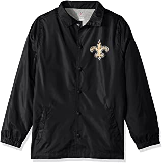 NFL Youth Boys Bravo Coaches Jacket-Black-L(14-16), New Orleans Saints