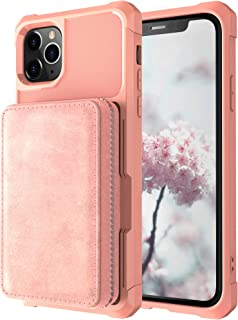 Wallet Cover Case for iPhone 11 Pro 5.8 inches,Cash Card Sleeve Zipper Leather Protective Kickstand Durable High Capacity Shell Women Men Boy Girl Pink