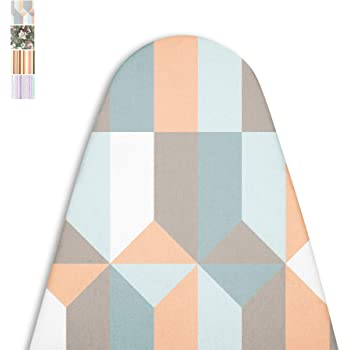 Encasa Homes Ironing Board Cover with 4mm Extra Thick Felt Pad for Steam Press - Blocks - (Fits Standard Medium Boards of 112 x 33 cm) Elastic Fitting, Heat Reflective, Protective