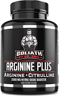 Dr. Emil's ARGININE Plus - L Arginine + L Citrulline - 2500 MG High Dose NO Booster Tablets - Nitric Oxide ...